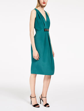 Silk blend cady dress