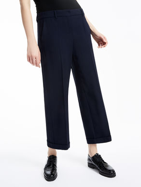Wool crêpe and viscose trousers