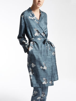 Silk twill wrap-front shirt-dress