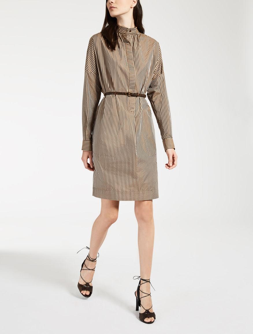 ポリエステル コットンシルク ストライプ ドレス