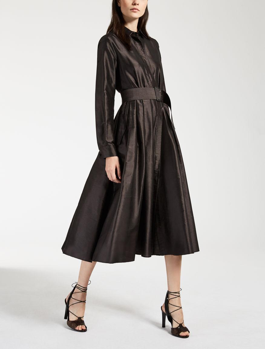 ピュアシルク シャンタンシャツ ドレス