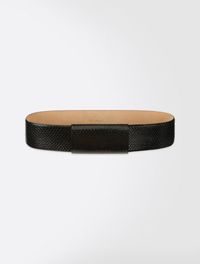 High-waist leather belt