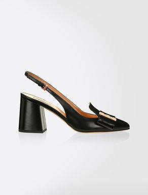 Semi-patent leather sandals