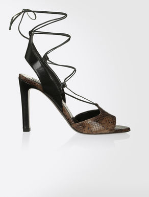 Sandals in python-print leather