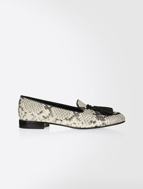 Moccasins in python-print leather