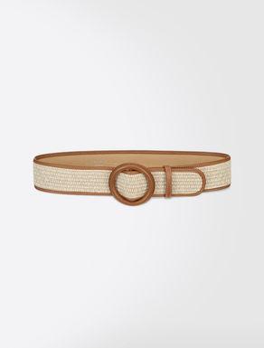 Woven raffia belt