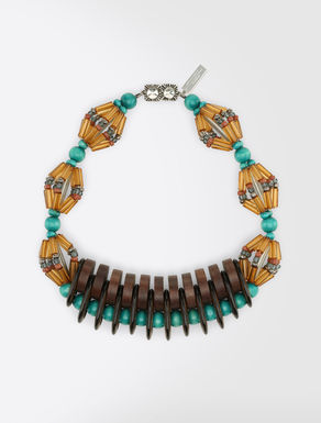 Halskette aus mehrfarbigem Kunstharz und Holz