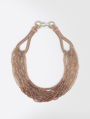 Cord and rhinestone necklace