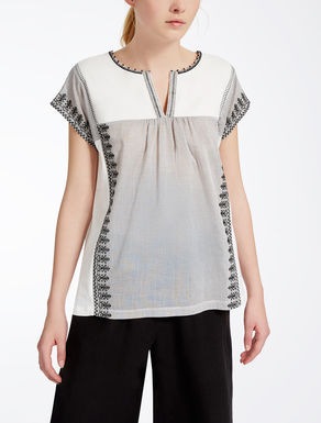 Cotton voile and jersey T-shirt