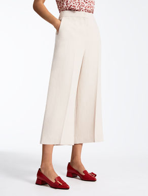 Viscose and linen twill trousers