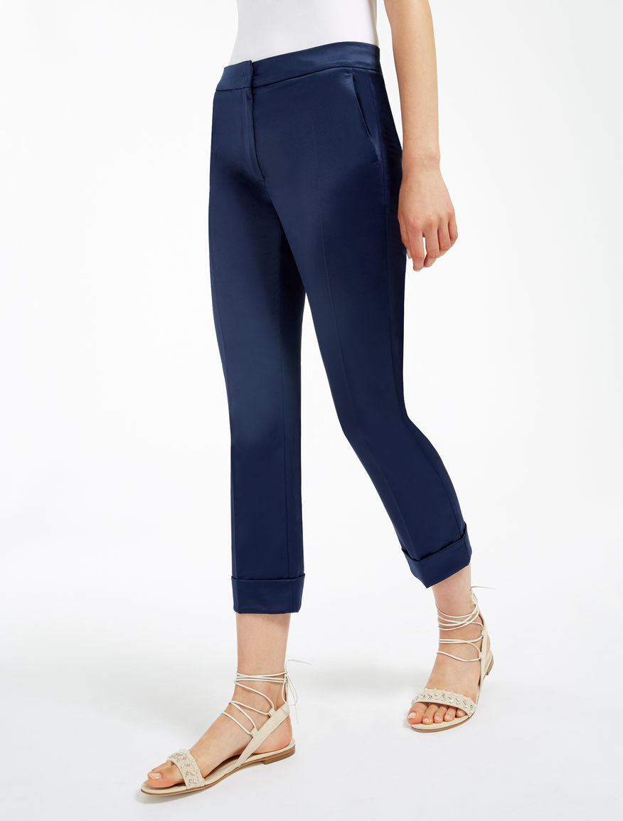 Stretch satin trousers