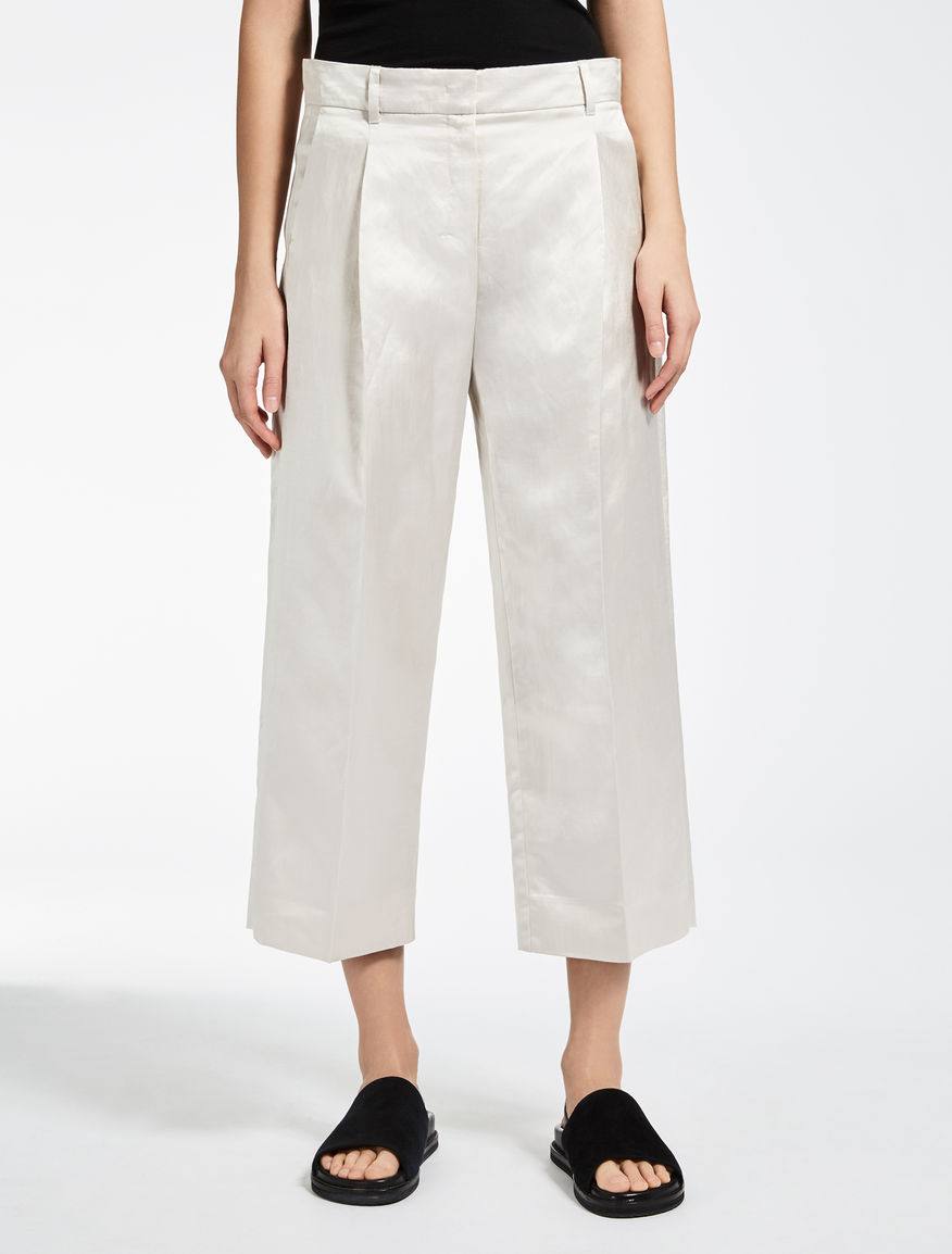 Linen and viscose satin trousers
