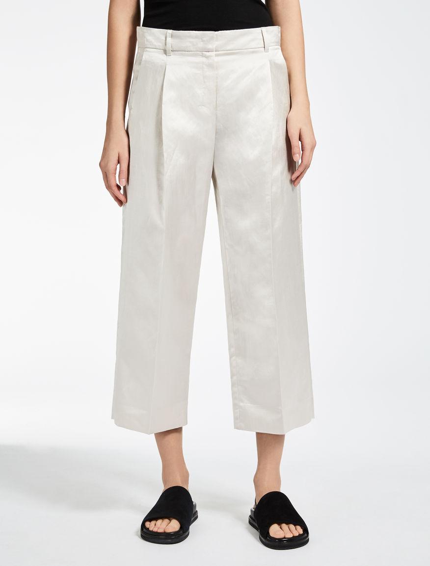 Pantaloni in raso di viscosa e lino