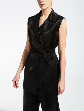 Viscose and linen satin waistcoat