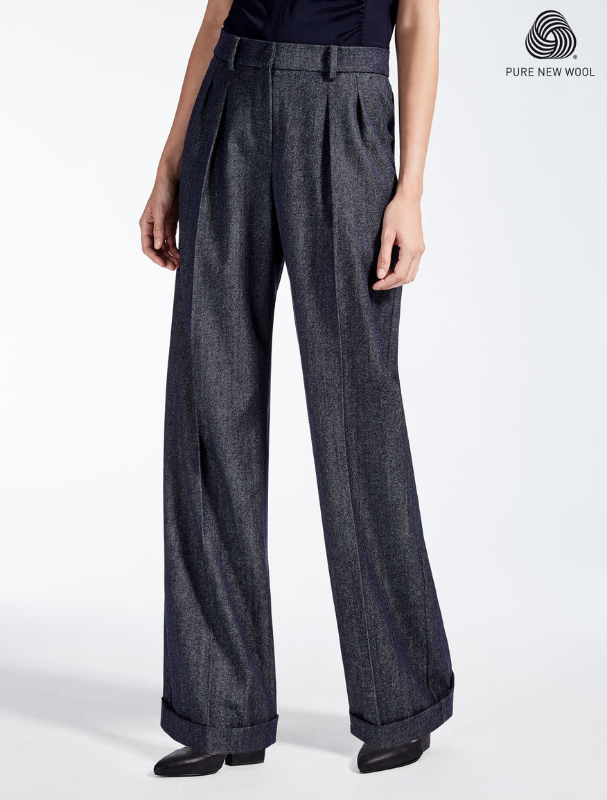 Wool trousers with denim effect