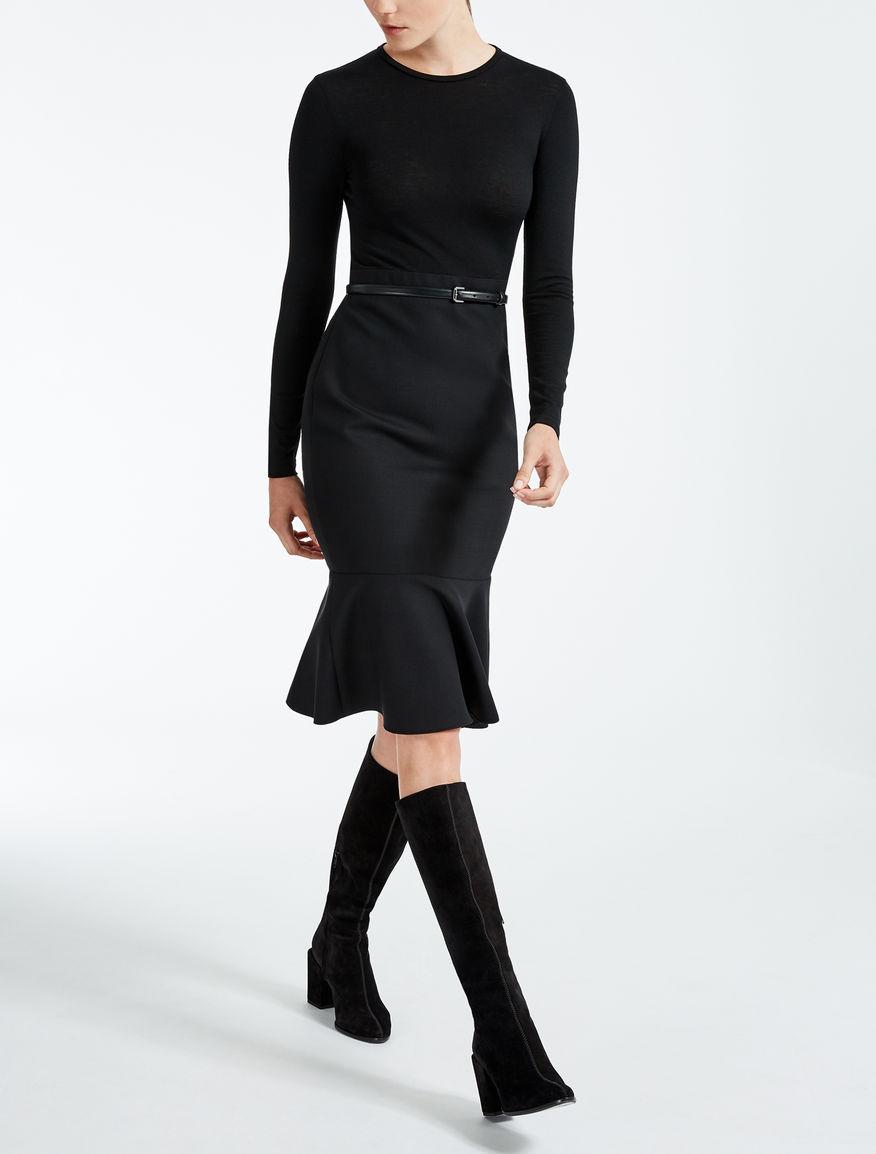 Vestido de crepé de lana