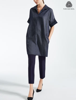 Denim-effect wool dress