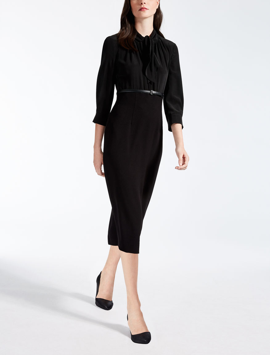 silk cr pe de chine dress black freddy max mara. Black Bedroom Furniture Sets. Home Design Ideas