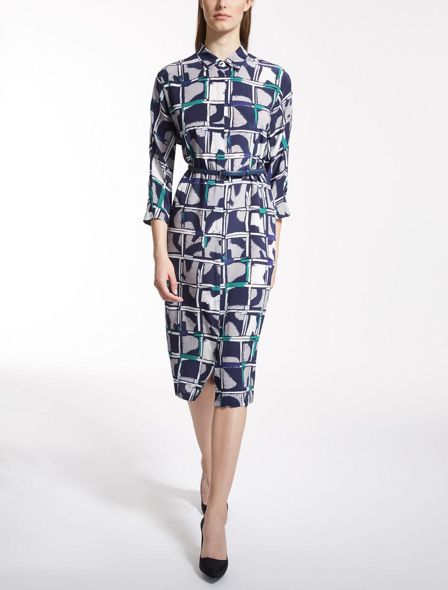 シルク クレープ デシンプリント ドレス