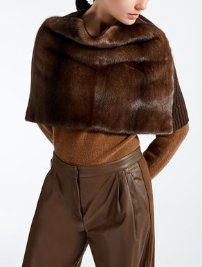 Mink and wool shrug