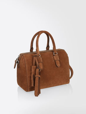 Suede leather Boston bag
