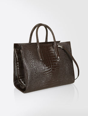 Tote Bag in crocodile-print leather