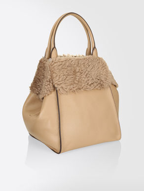 Deer hide and sheepskin maxi shopper