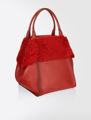 Deer hide and sheepskin J-bag