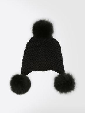 Chapeau en laine et renard