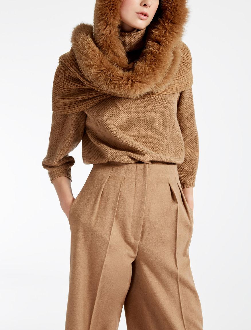 Wool and rabbit fur cagoule hat