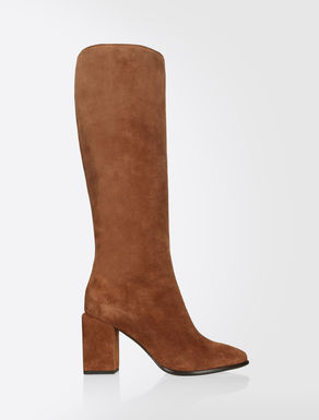 Suede leather fitted boots