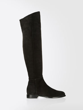 Suede leather cuissard boots