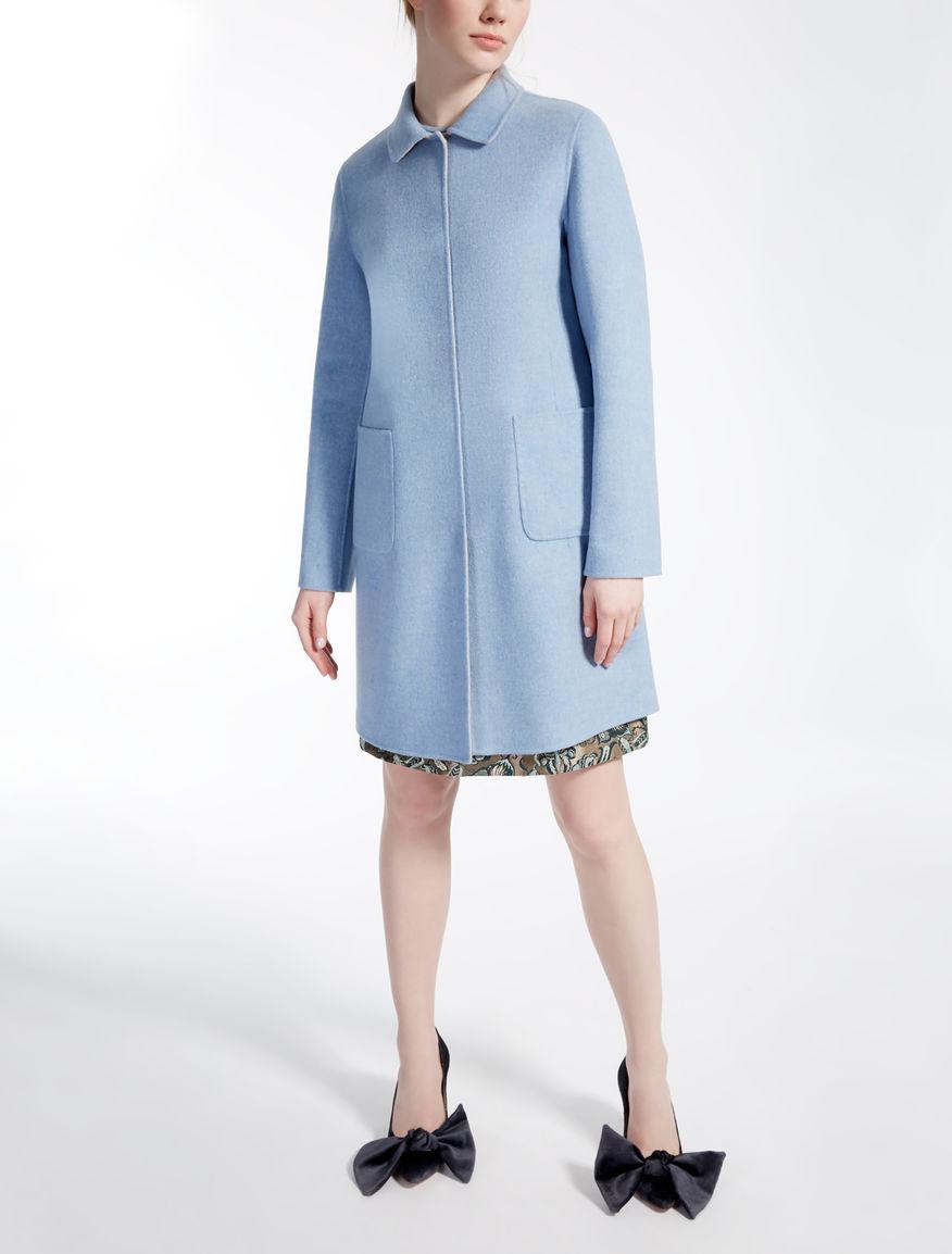 Reversible wool coat, light blue