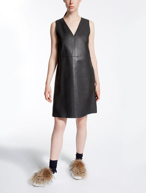 Leather and jersey dress