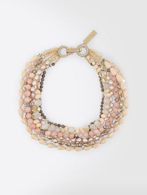 Pearl and rhinestone multi-strand necklace