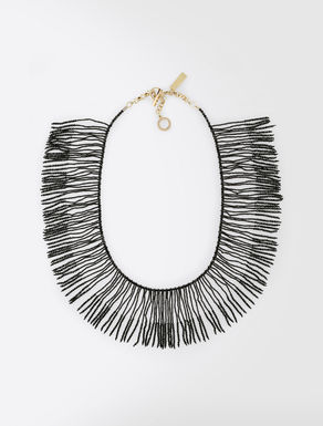 Necklace with rhinestone fringe