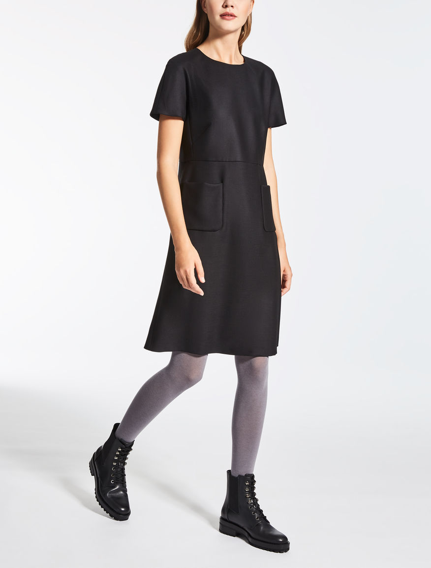 Stretch wool canvas dress