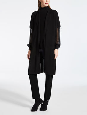 Silk and wool t-shirt poncho