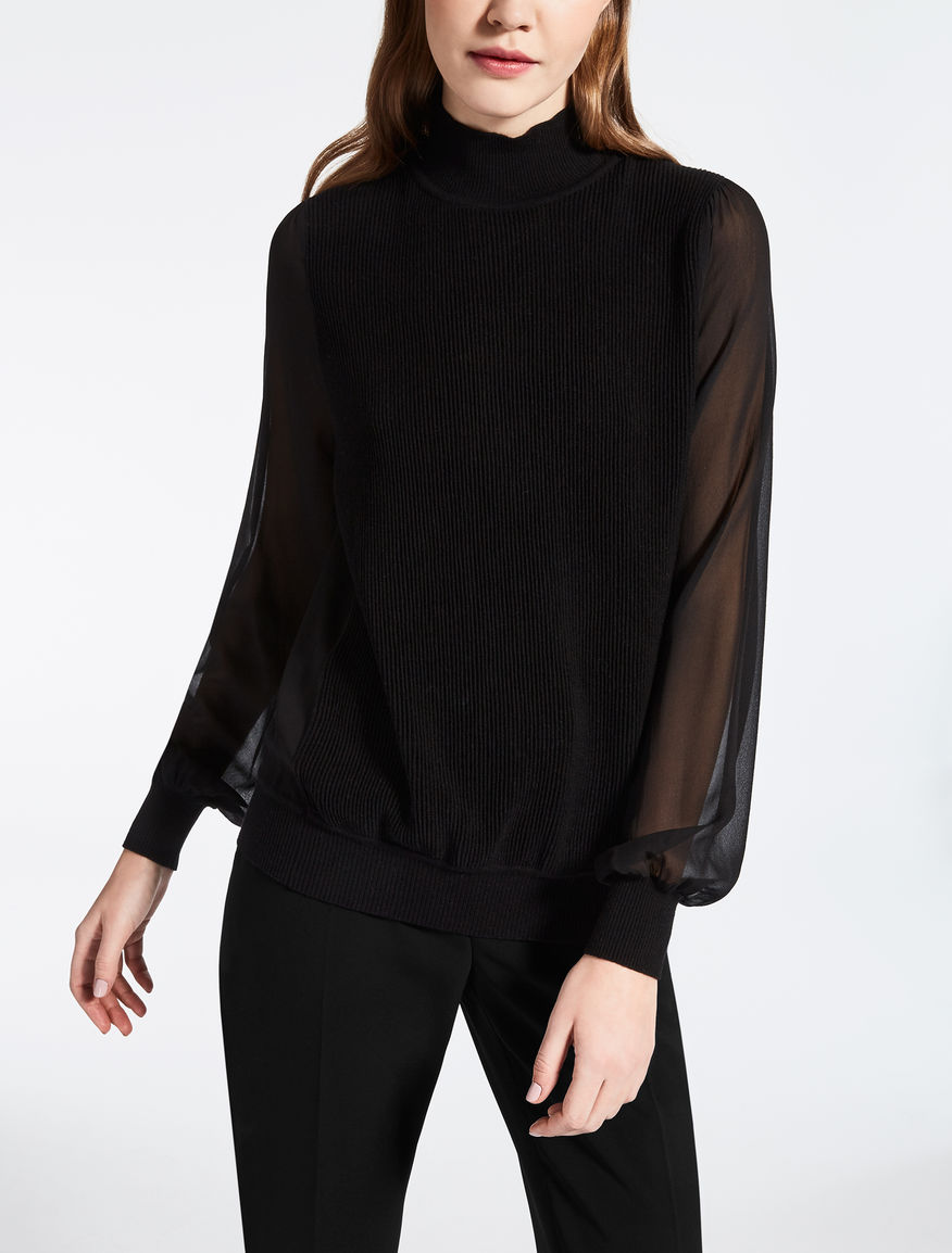 Silk and wool turtleneck