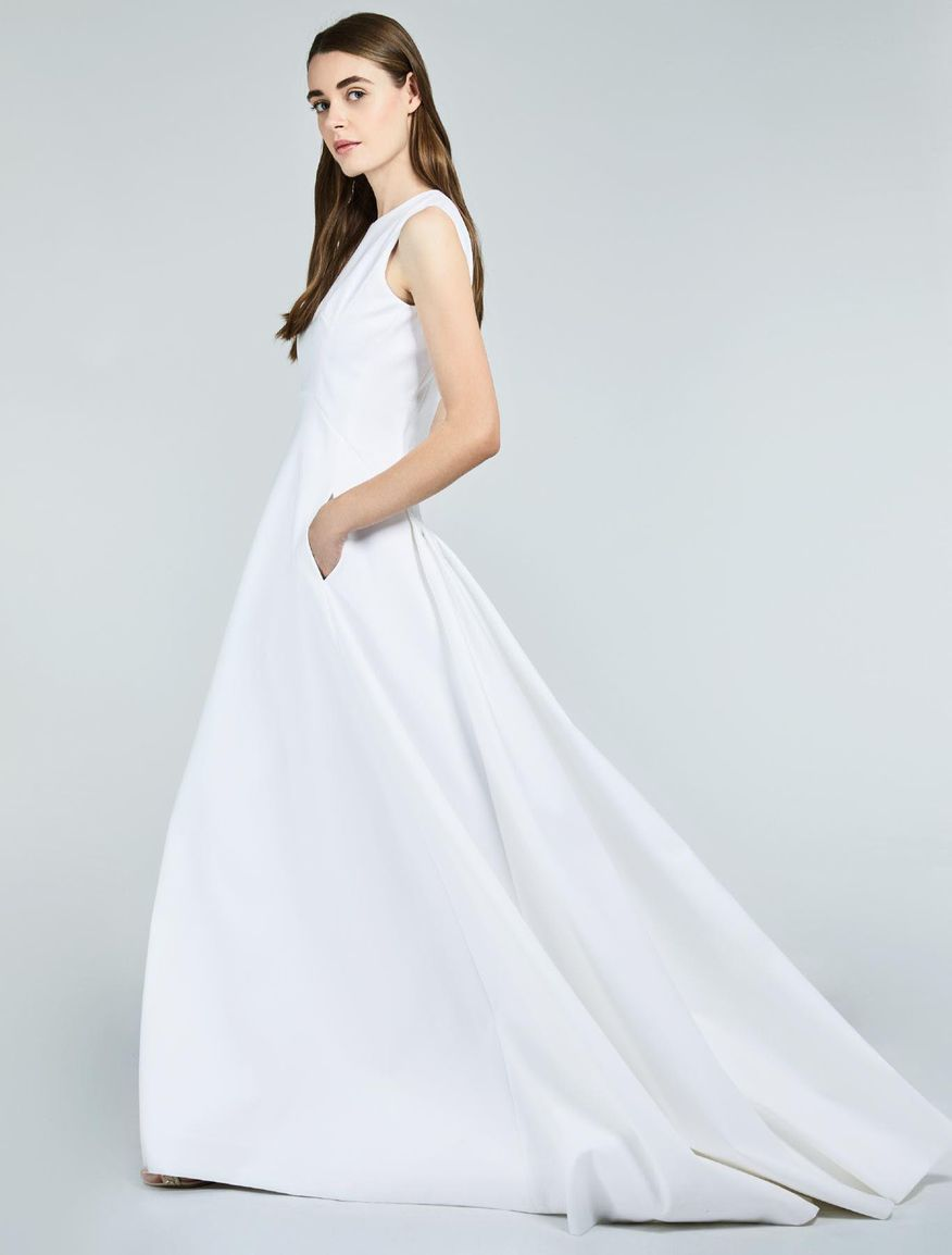Robe en double satin de coton