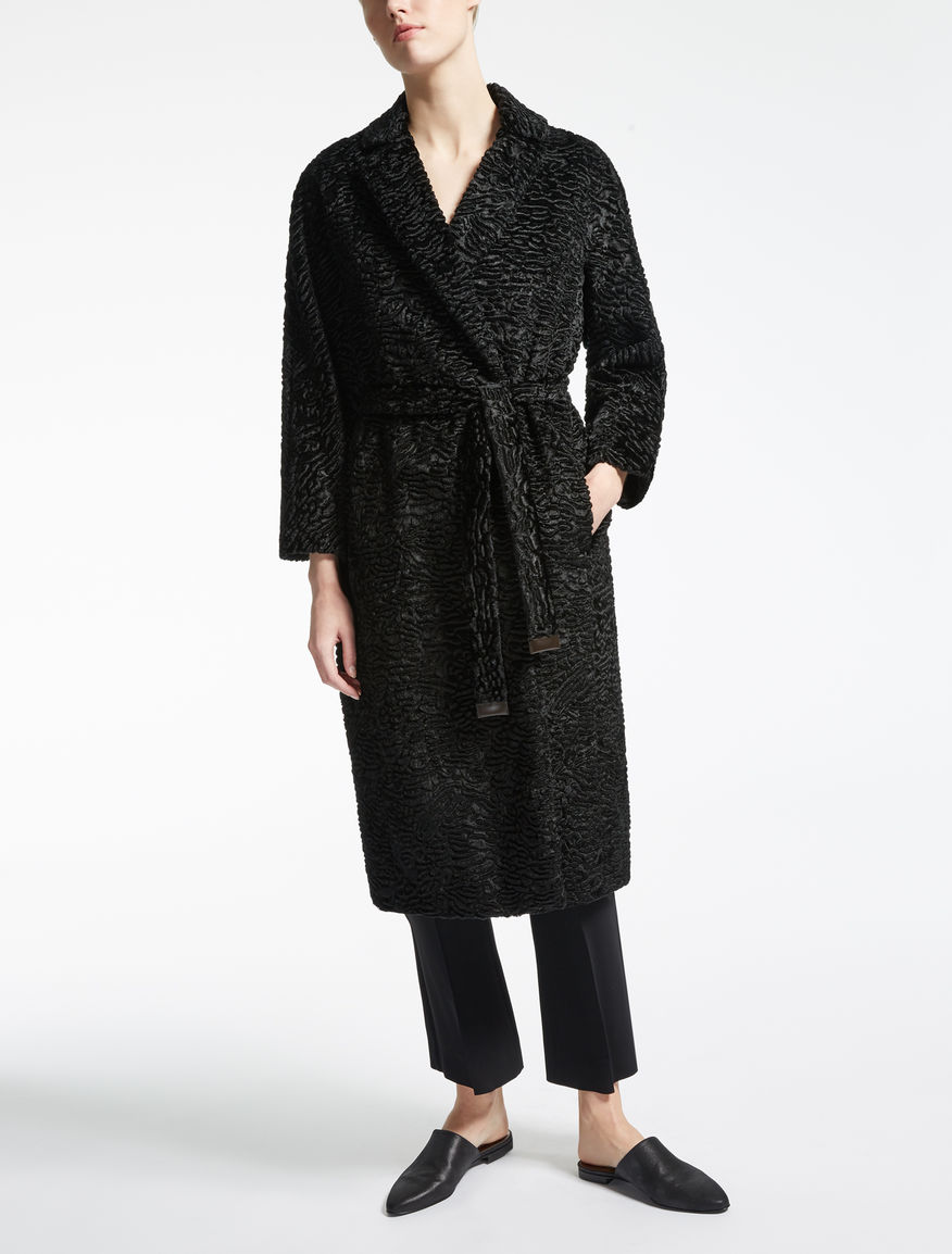 Coat in astrakhan-effect fabric