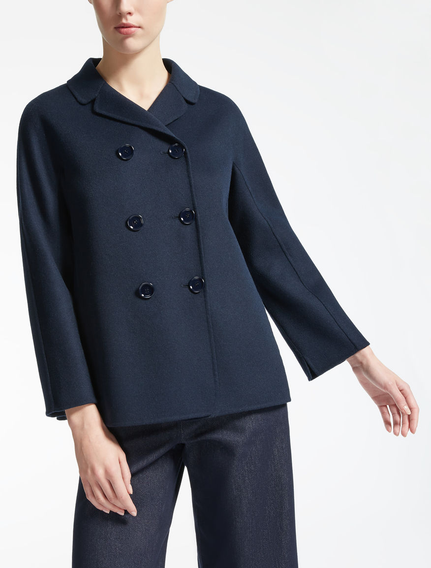Wool and angora pea coat