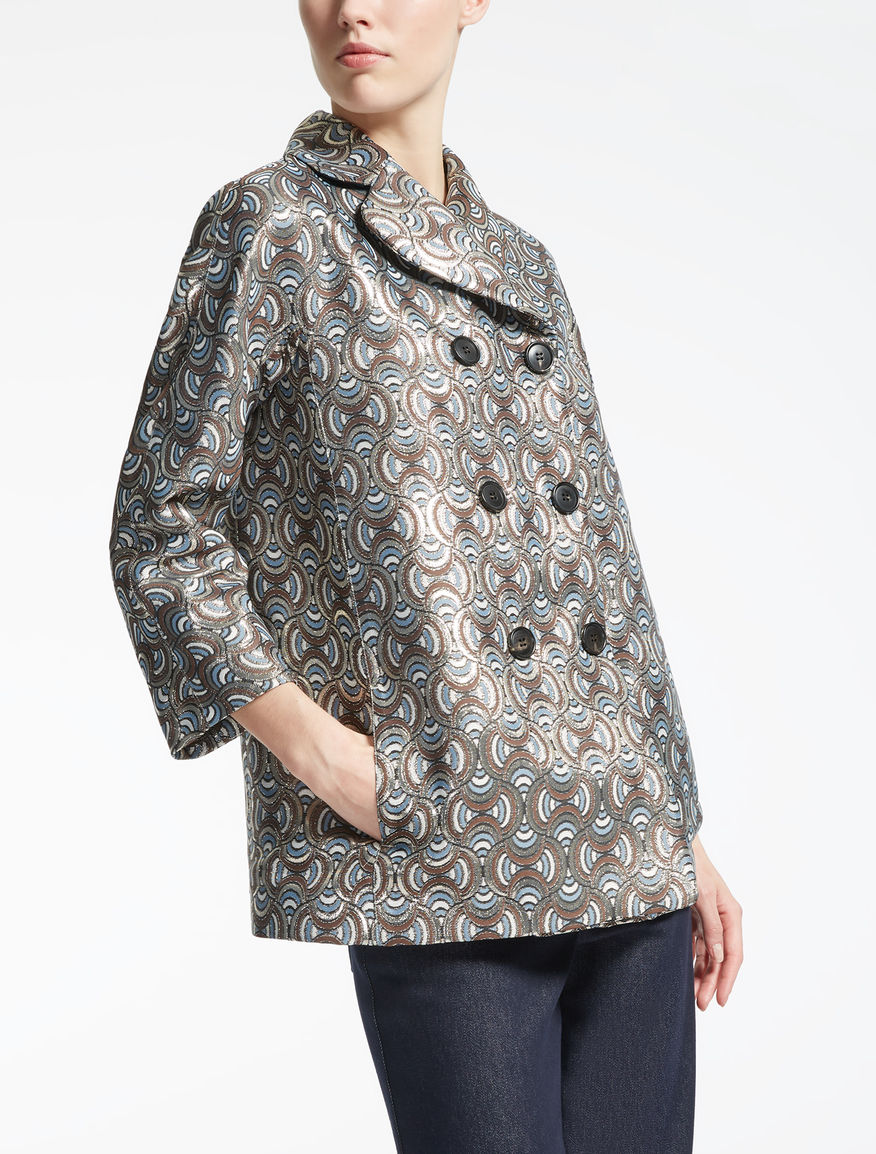 Jacquard fabric pea coat