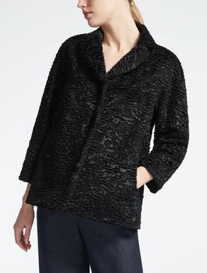 Jacket in astrakhan-effect fabric