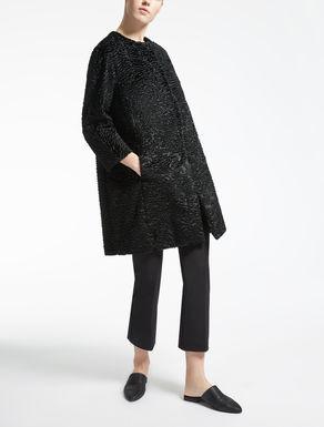 Coat in astrakhan-effect fabric