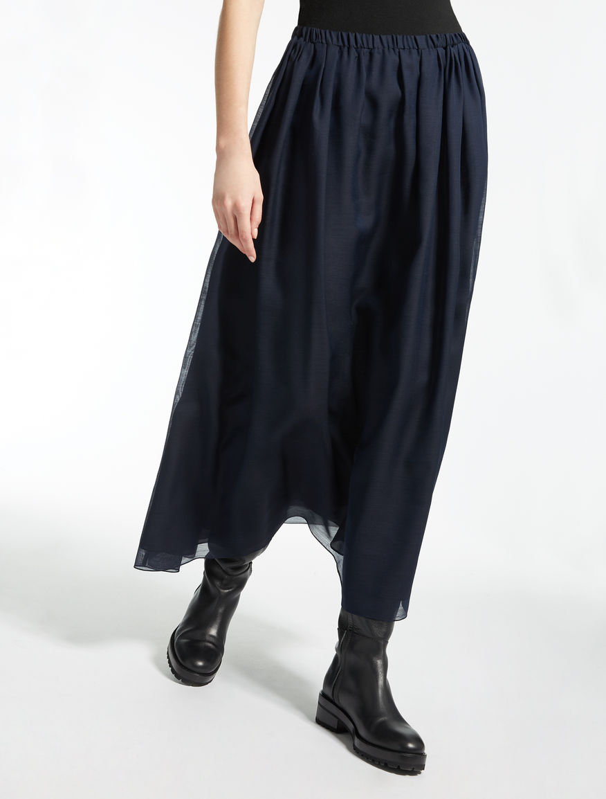 Silk and wool canvas skirt