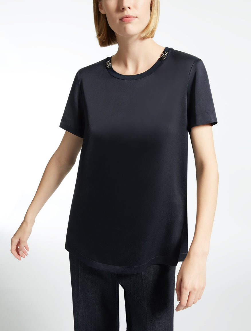 Viscose and wool satin T-shirt