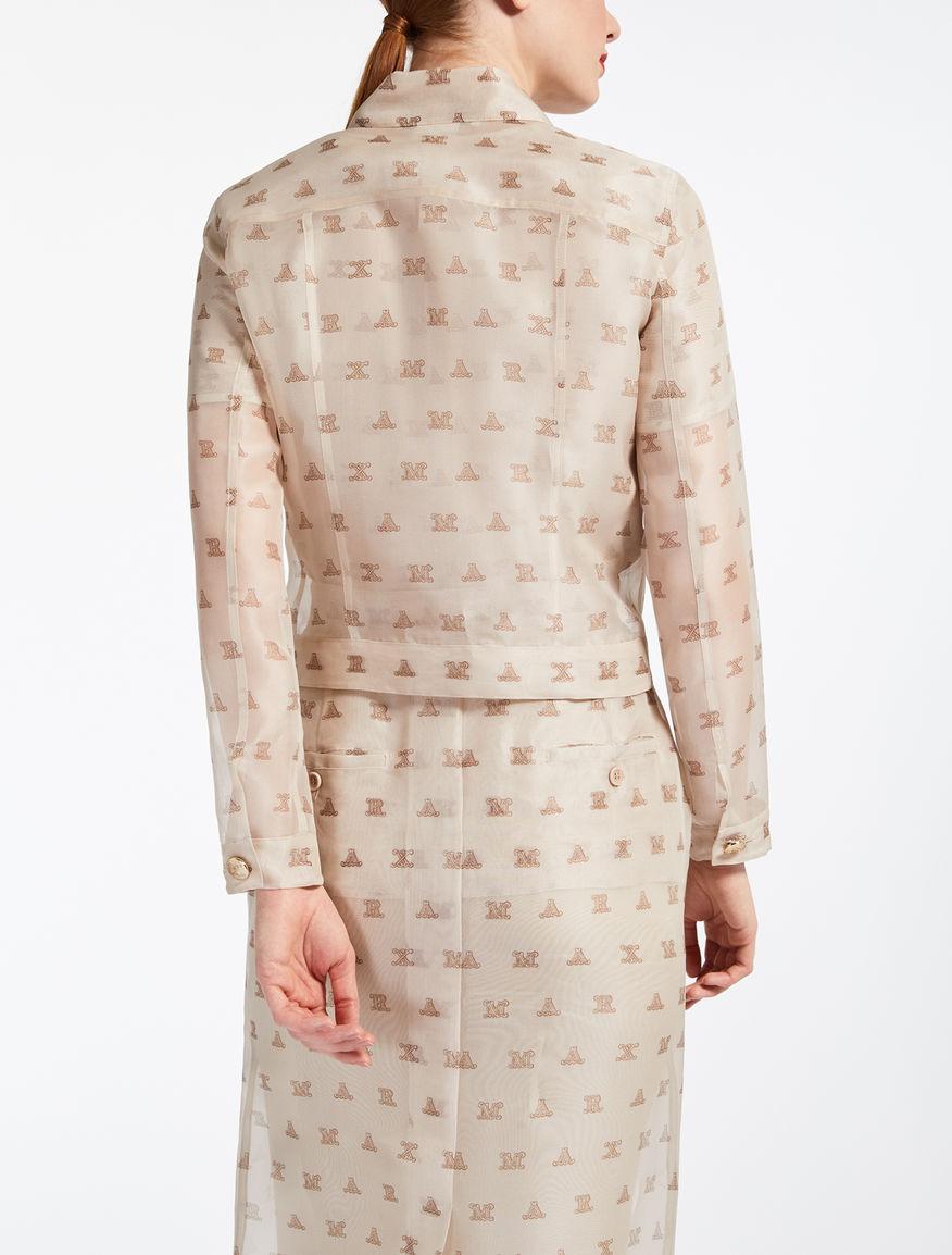 Silk organza jacket, sand - \