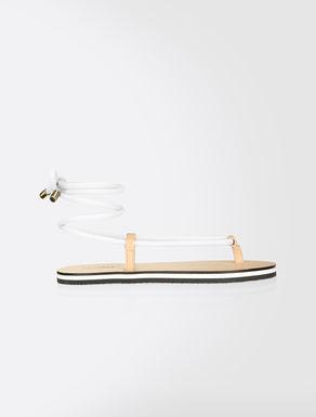 Microfibre lace-up sandals