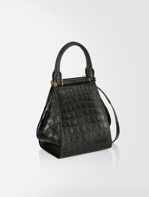 Crocodile-print leather bag.